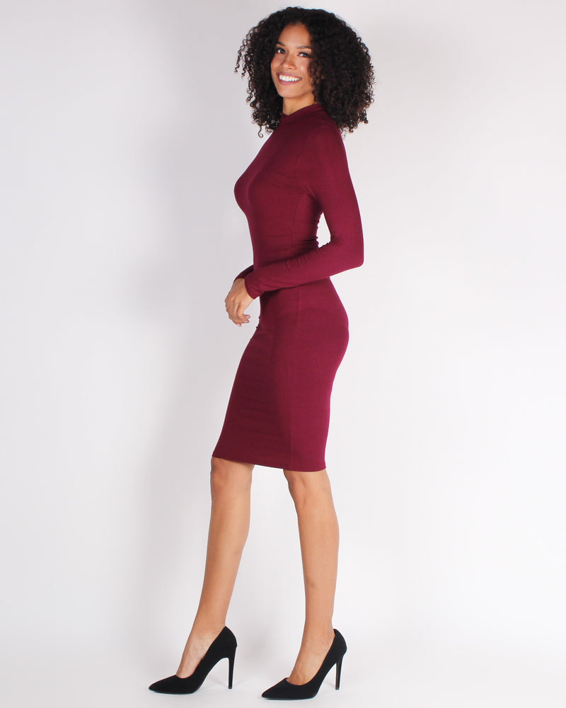 Fashion Q Shop Q Hustle Vibes Mock Turtleneck Bodycon Dress (Red) RD61505
