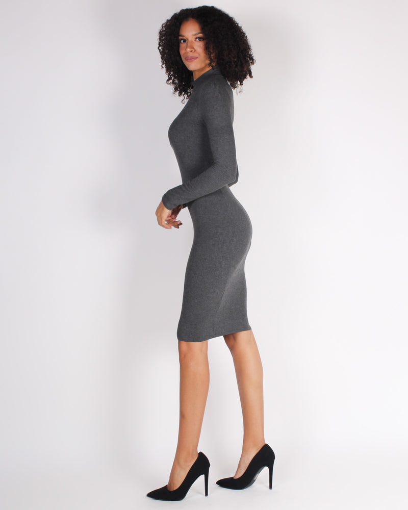 Fashion Q Shop Q Hustle Vibes Mock Turtleneck Bodycon Dress (Heather Grey) RD61505
