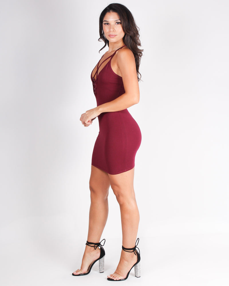 Fashion Q Shop Q Relish in the Good Times Bodycon Dress (Wine) RD67180