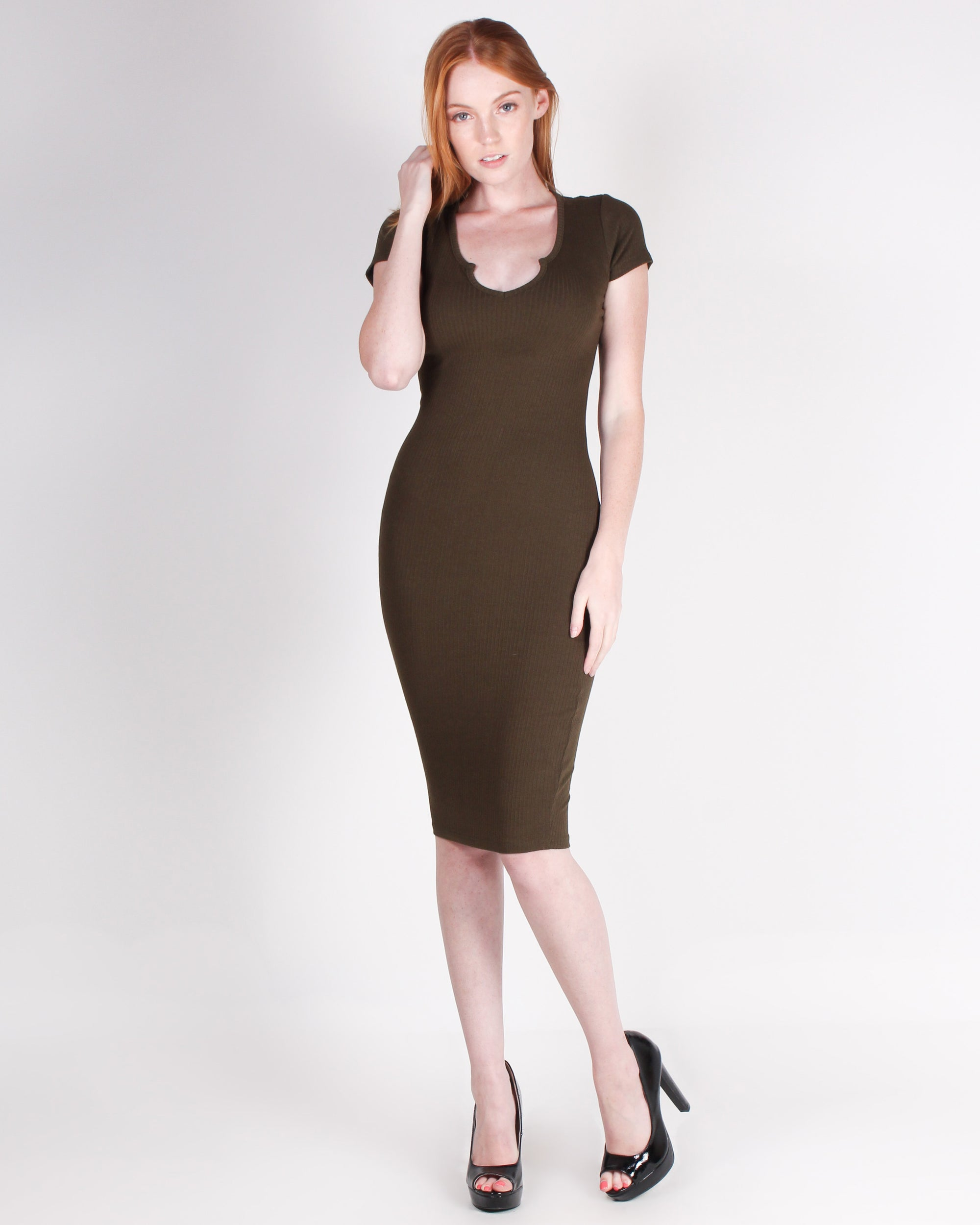 Fashion Q Shop Q So What, Look at This  Bodycon Dress (Dark Olive) RD68295
