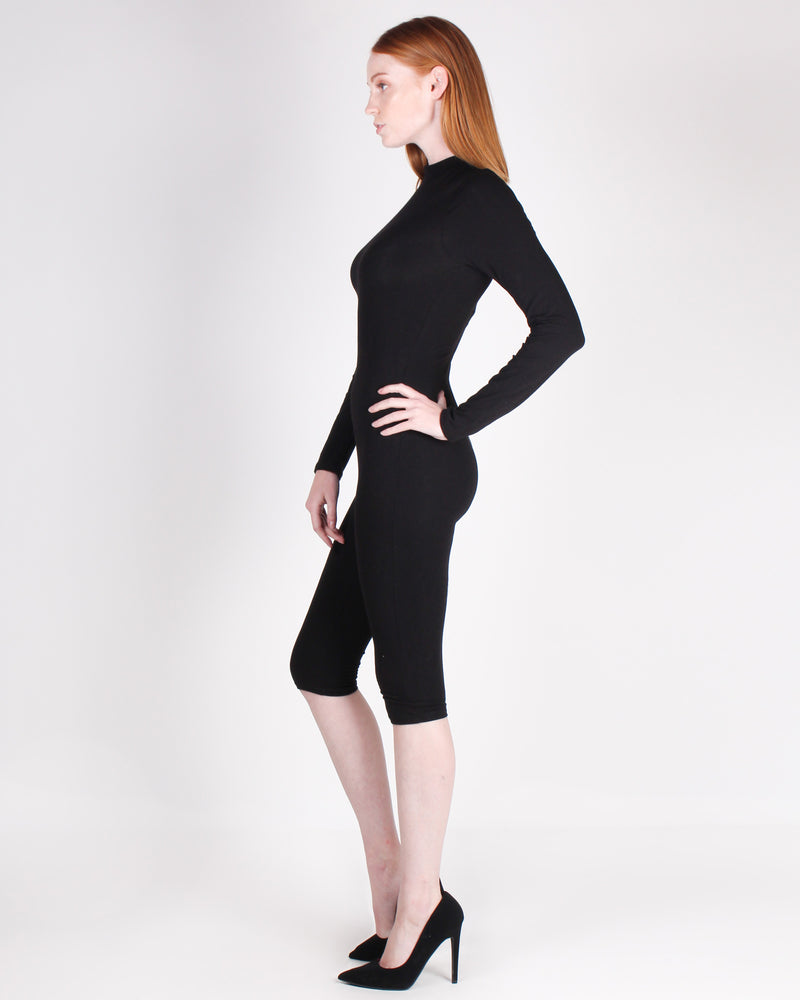 Fashion Q Shop Q Reach for the Sky Mock Turtleneck Romper (Black) RP62535