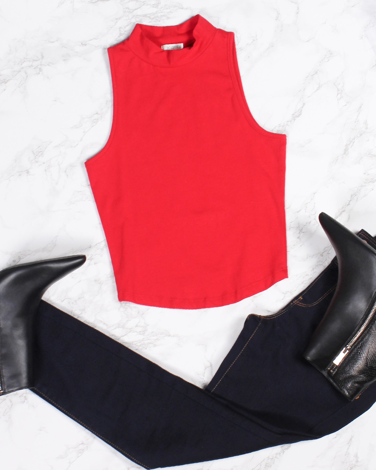 Shop Q Fashion Q Top of the List Mock Turtleneck Tank (Red) RT12034