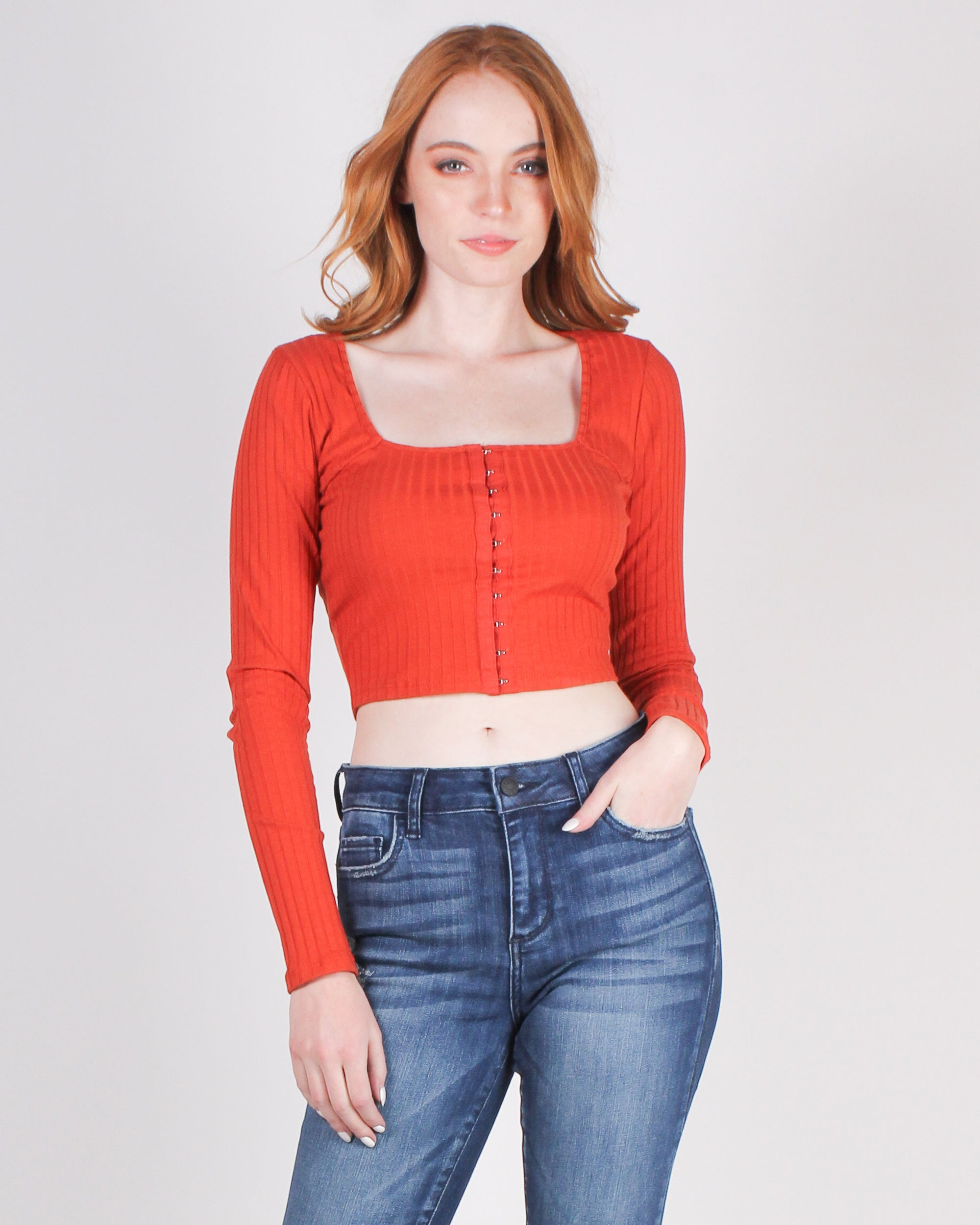 Fashion Q Shop Q Power to Create the Life I Desire Long Sleeve Top (Blood Orange) RT37012L