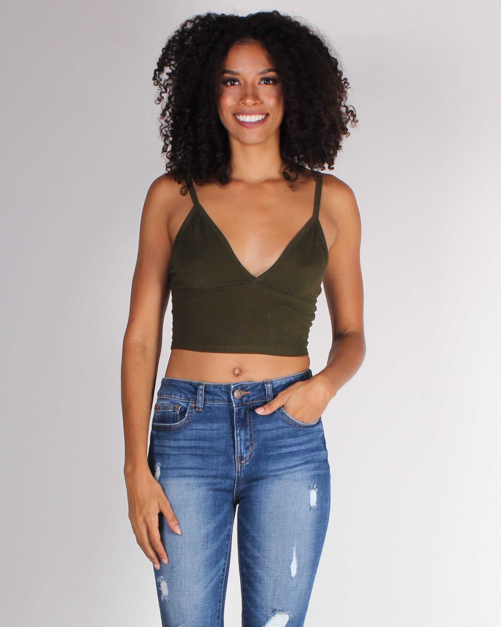 Fashion Q Shop Q Take Me as I Am Crop Top (Olive) RT52124