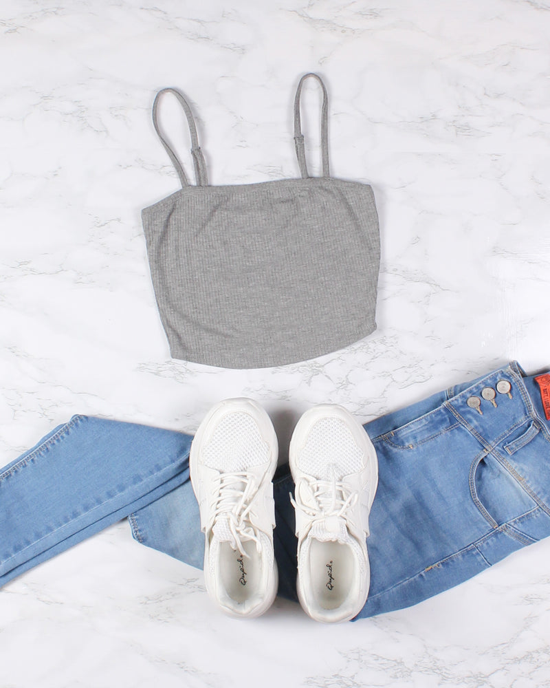 Fashion Q Shop Q Never Stop Exploring Crop Top (Heather Grey) RT52590
