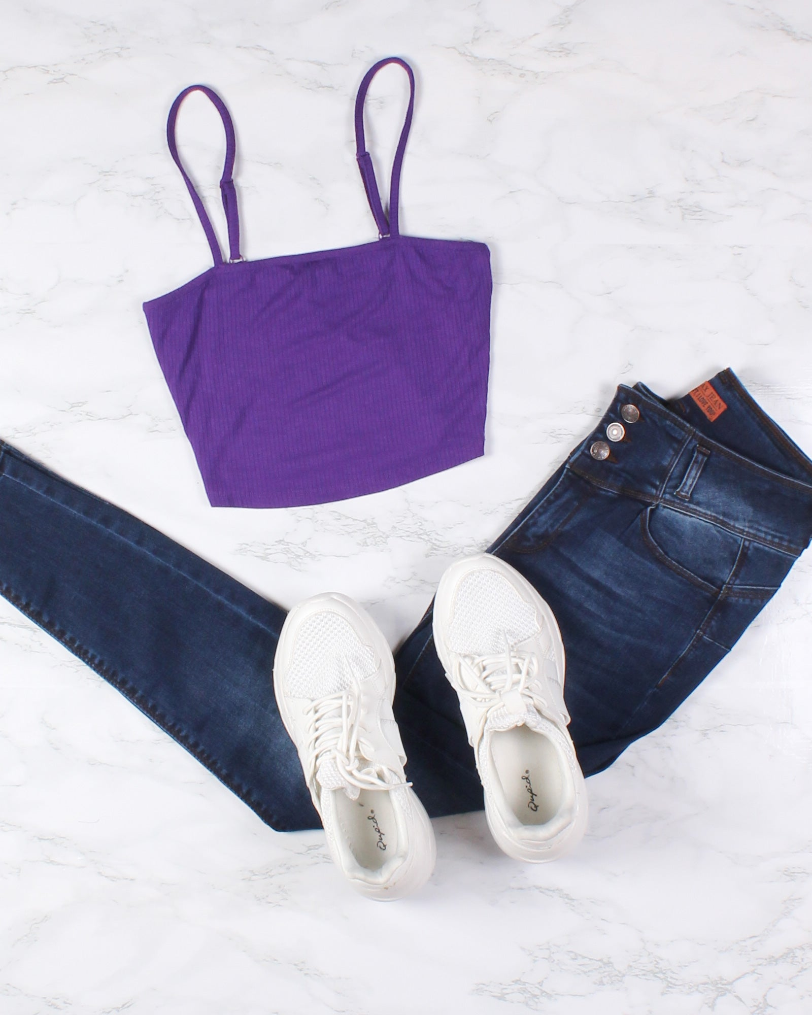 Fashion Q Shop Q Never Stop Exploring Crop Top (Purple) RT52590