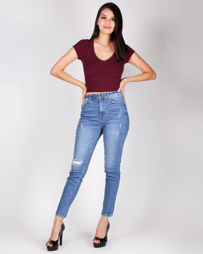 The Answer Crop Top (Merlot)