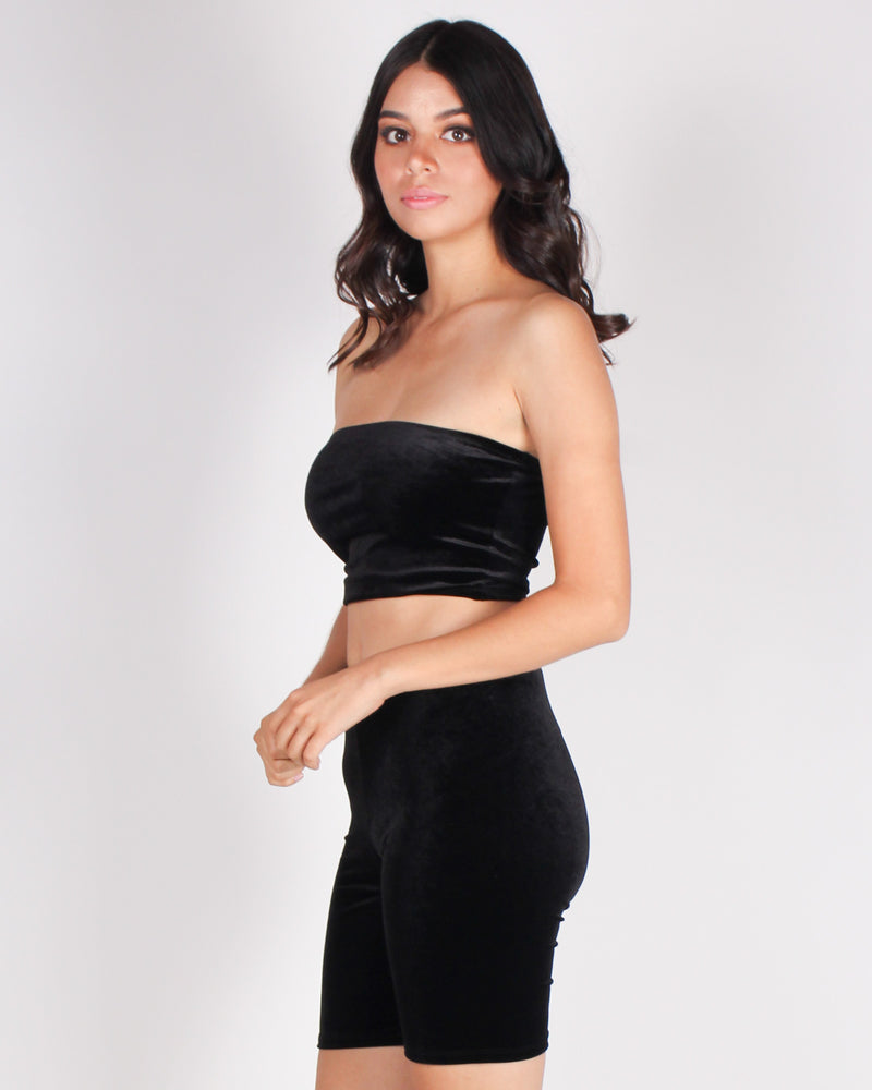 Fashion Q Shop Q There's Bravery in Being Soft Velvet Tube Top (Black) RT61572