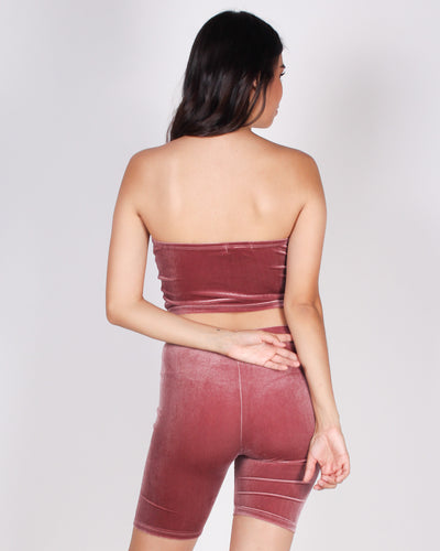 Fashion Q Shop Q There's Bravery in Being Soft Velvet Tube Top (Smokey Mauve) RT61572