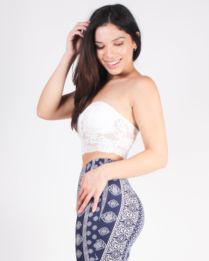 Be Wild, Beautiful, and Free Bandeau Lace Crop Top (Off White)