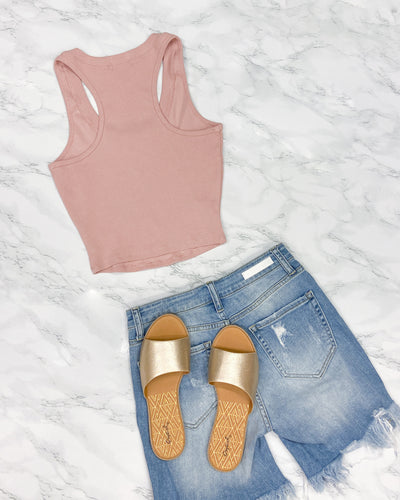 Shopping is the Only Sport I Need Racerback Crop Top Tank (Mist Rose)