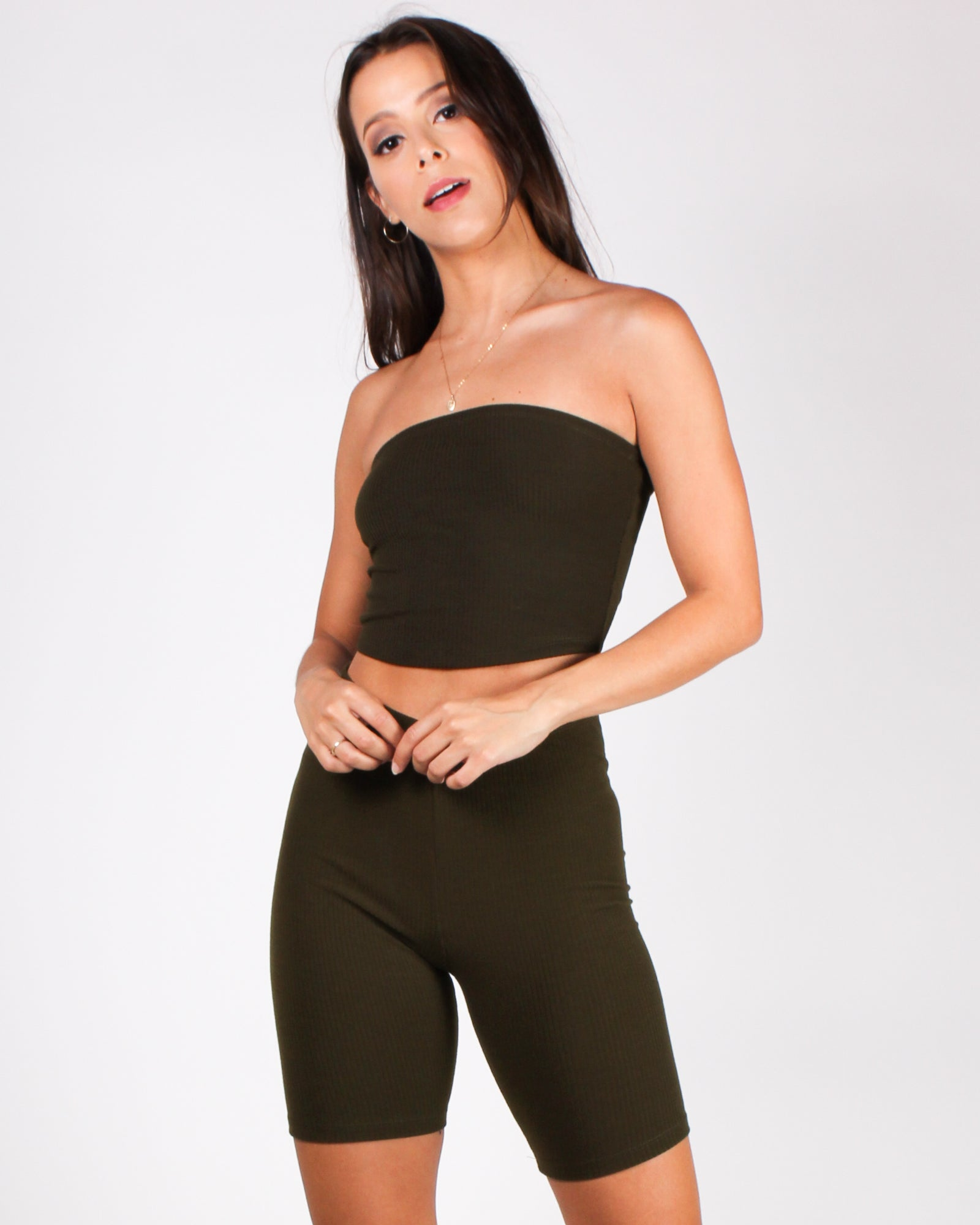 You've Got This Vibes Tube Top (Dark Olive)