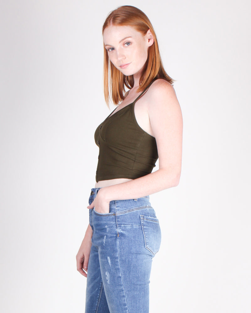 Fashion Q Shop Q Irresistible for Life Crop Top (Dark Olive) RT63825