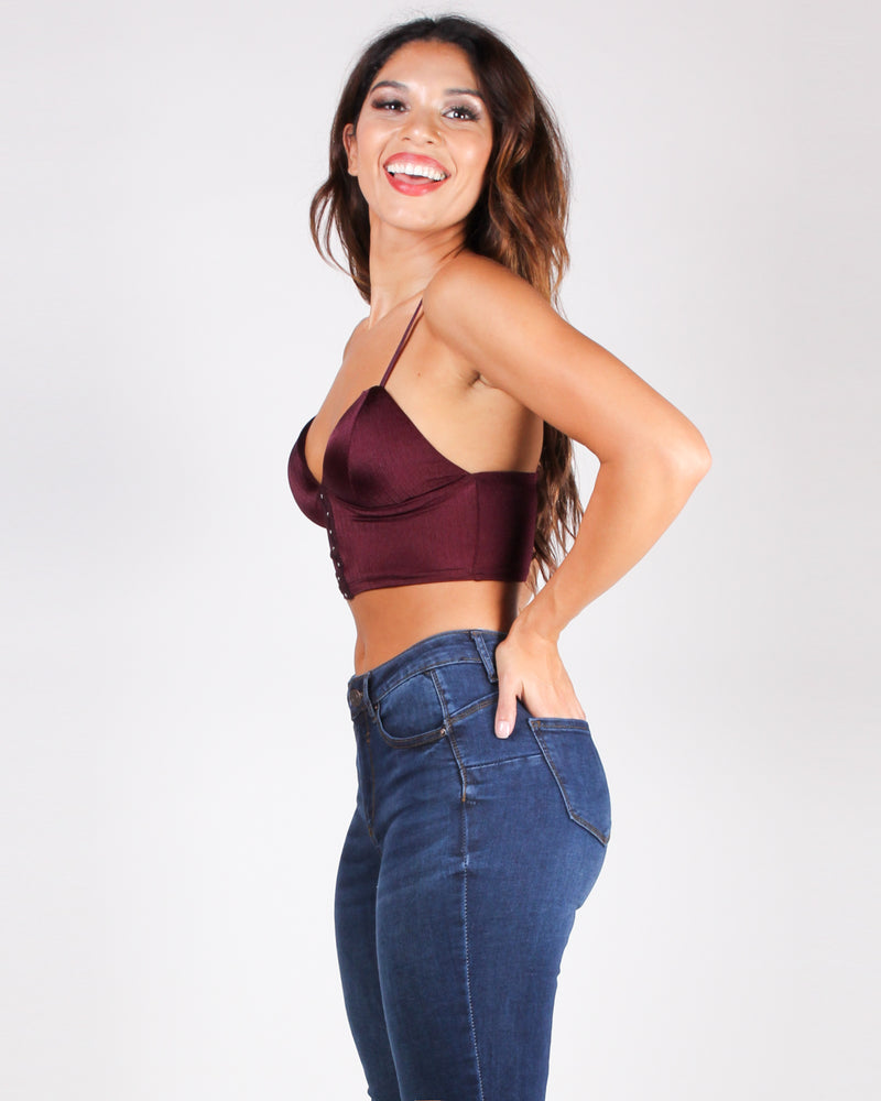 Leave a Smile Wherever You Go Crop Top (Maroon)