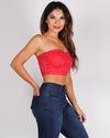 Fashion Q Shop Q But, First Lace Bandeau (Dark Red) RT70236