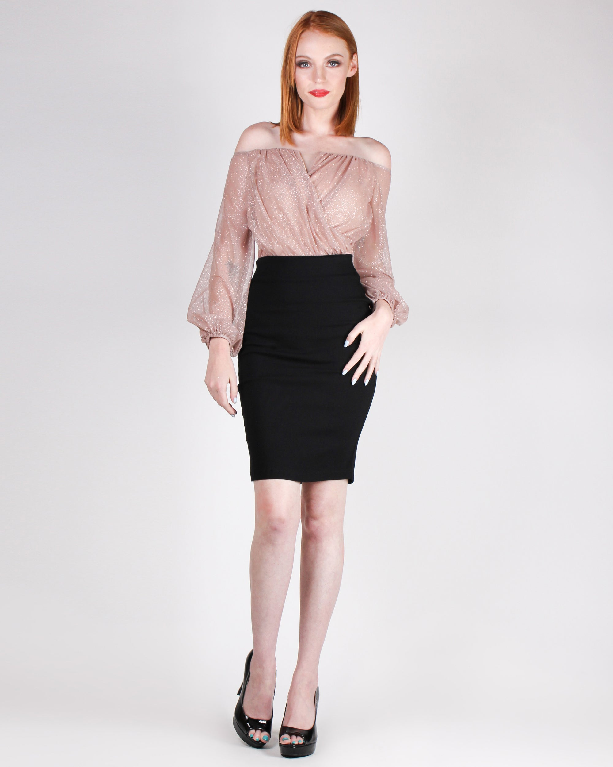 Be Fearless and Opportunities will Be Limitless Pencil Skirt (Black)
