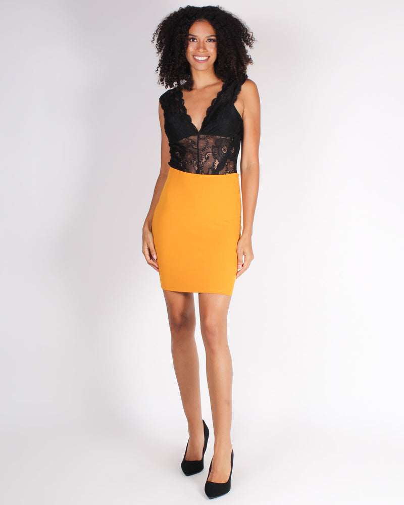 Fashion Q Shop Q Catch Me Pencil Skirt (Mustard) S2756