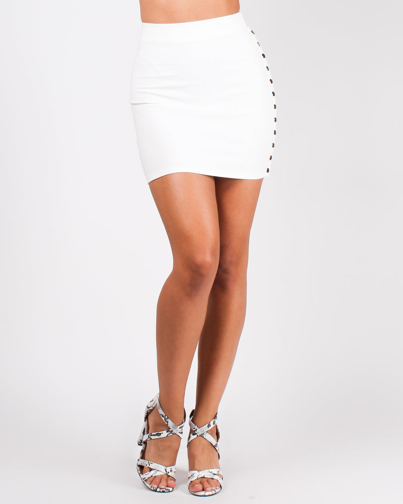 With a Snap of Your Finger Skirt (Off White)
