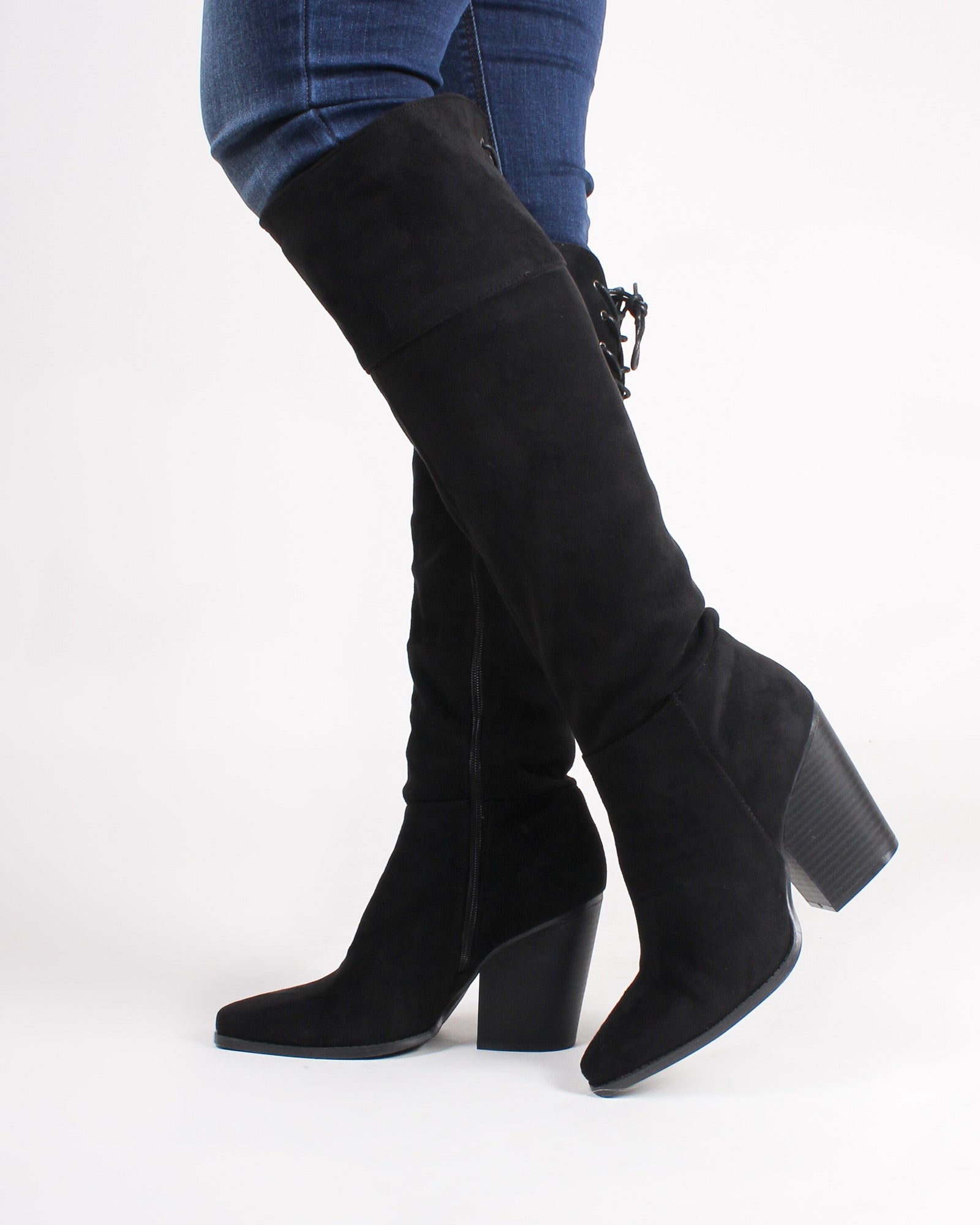 Fashion Q Shop Q Woodstock Knee High Booties (Black) SLAY-12X