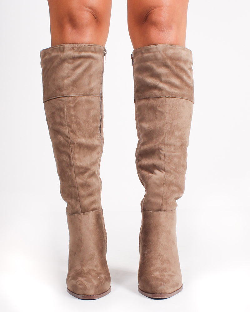 Fashion Q Shop Q Woodstock Knee High Booties (Taupe) SLAY-12X