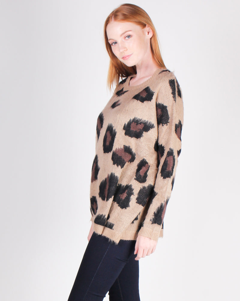 Fashion Q SHop Q Hello Week, Let's Do This Cheetah Sweater (Brown) ST679