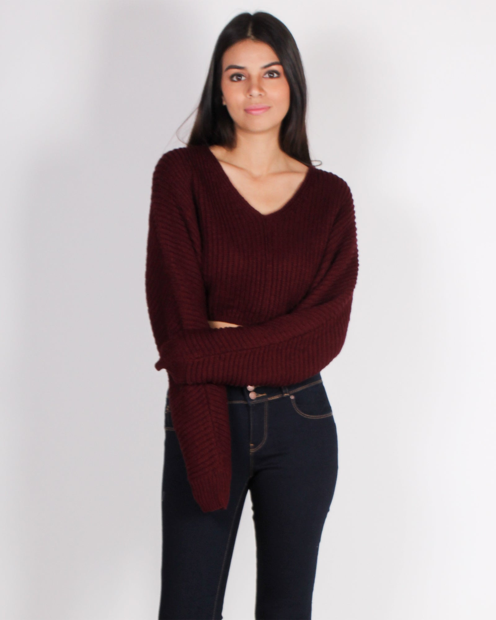 Fashion Q Shop Q License to Chill Crop Knit Sweater (Burgundy) SW10764