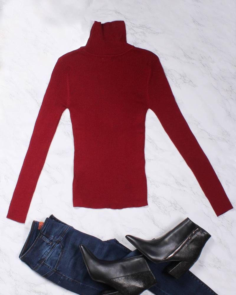 Fashion Q Shop Q Be Your Potential Long Sleeve Turtleneck Top (Burgundy) SW2669