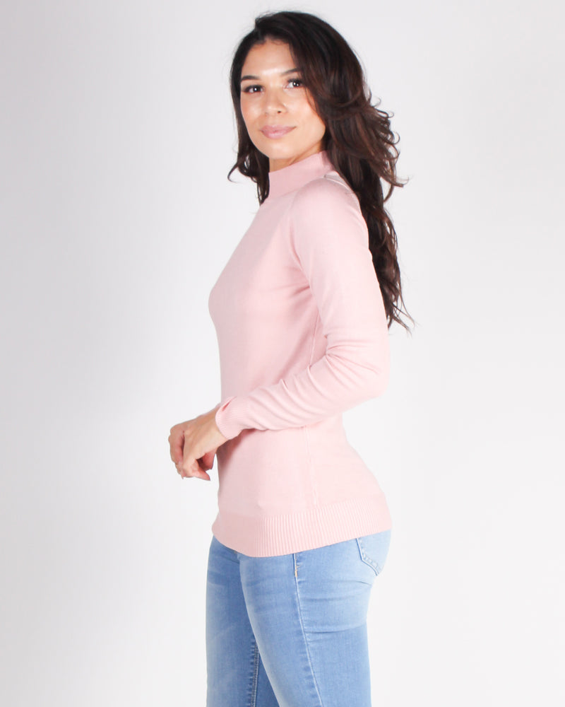 Fashion Q Shop Q How Far I'll Go Mock Turtleneck Sweater (Dusty Pink) SW410