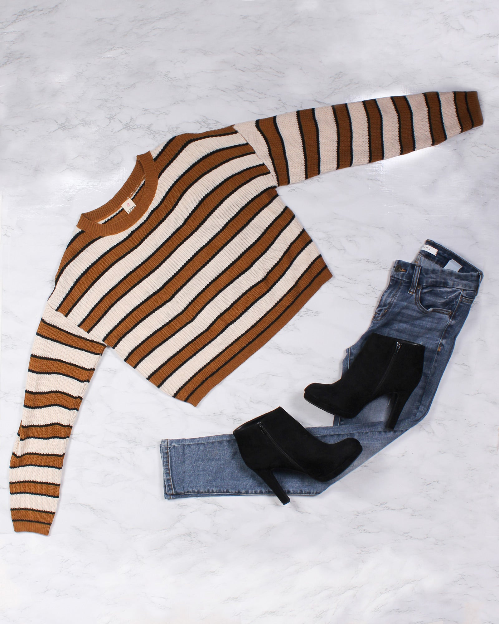Fashion Q Shop Q See Me Thrive Striped Sweater (Mustard) SW6369