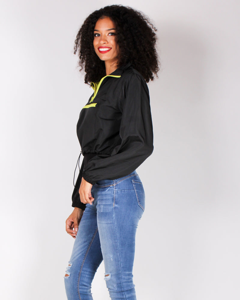 Fashion Q Shop Q What Goes Around Windbreaker Pullover (Black) T1029