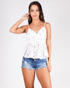 Round and Round We Go Floral Top (White)