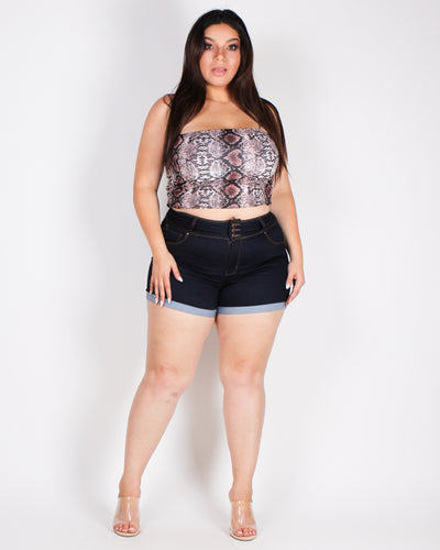 What You Seek Snake Print Plus Crop Top (Brown Snakeskin)