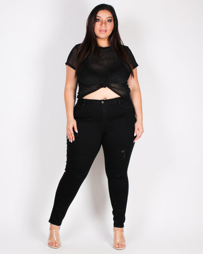 Quite a Mesh, Babe Plus Crop Top (Black)