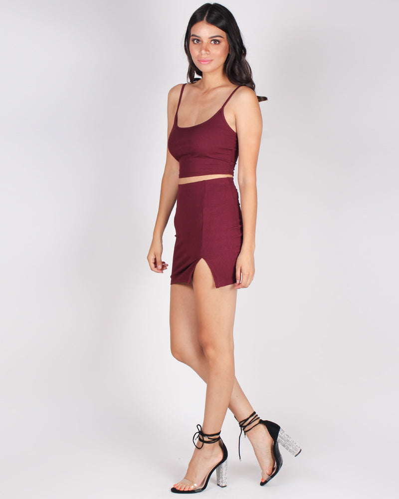 Fashion Q Shop Q Good Times and Crazy Friends Crop and Skirt Set (Burgundy) T11468SET