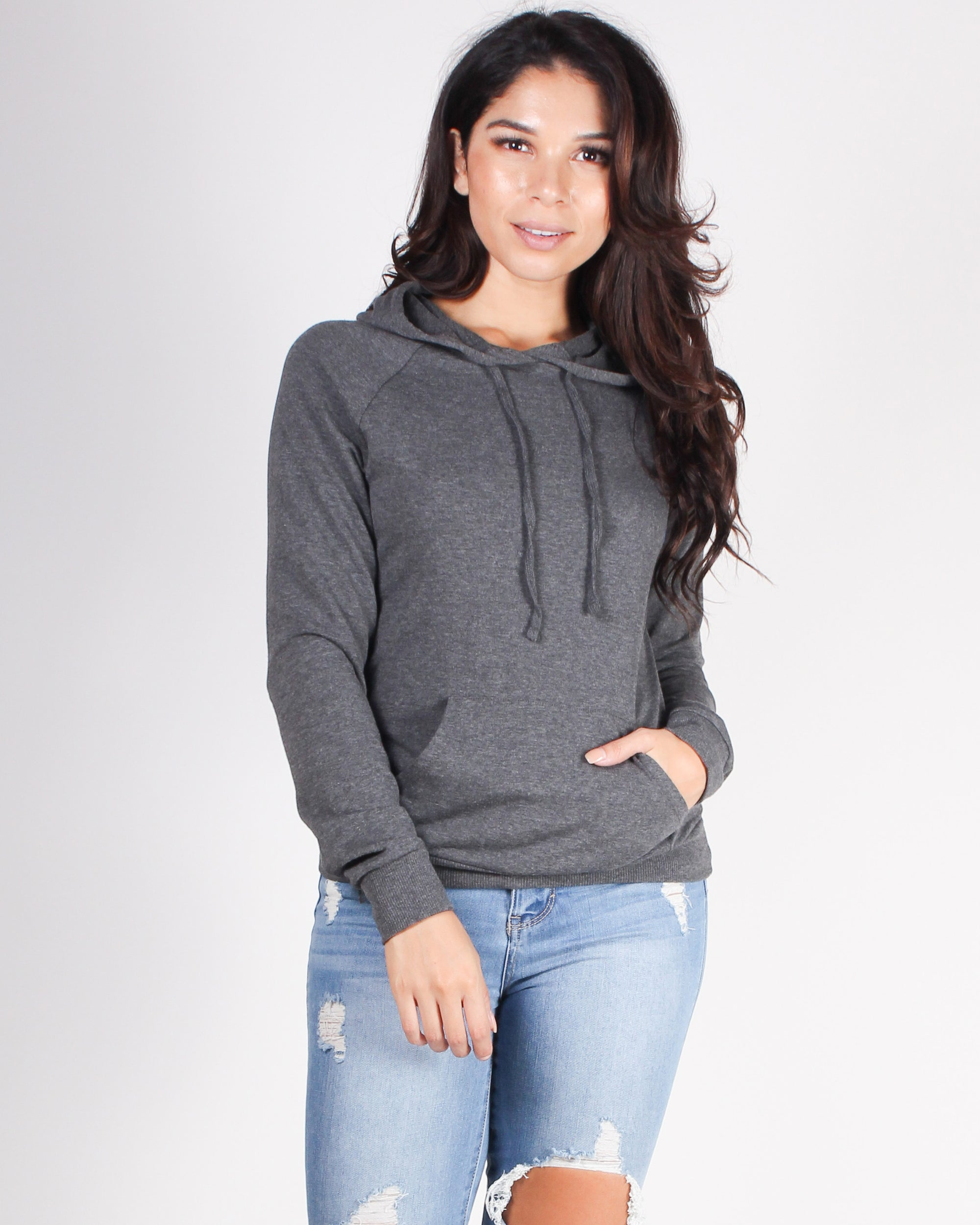 Fashion Q Shop Q And Relax Drawstring Hooded Sweater (Charcoal) T1481