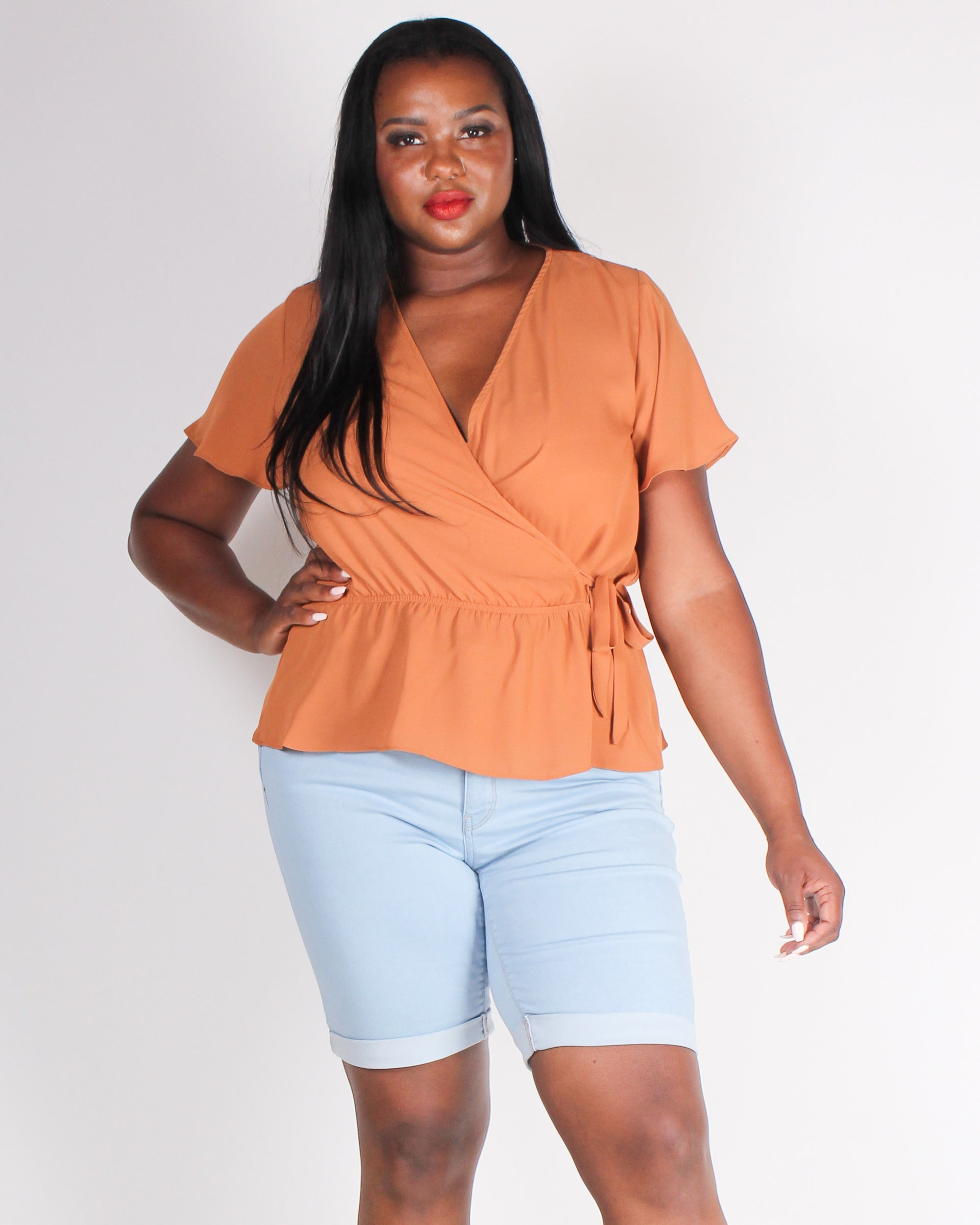 Fashion Q Shop Q Seek New Places in Style Plus Blouse (Amber) T2183XV