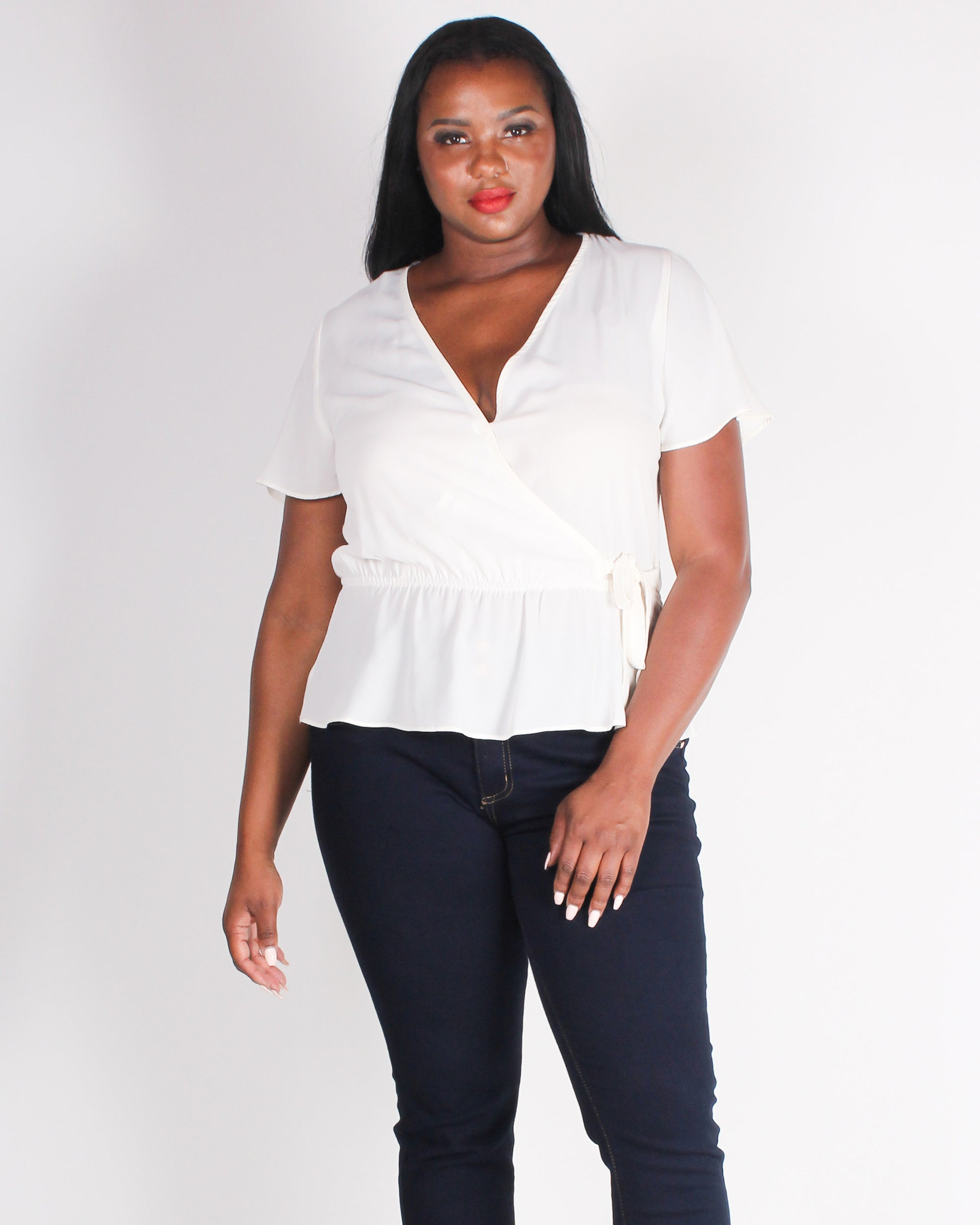 Fashion Q Shop Q Seek New Places in Style Plus Blouse (Cream) T2183XV