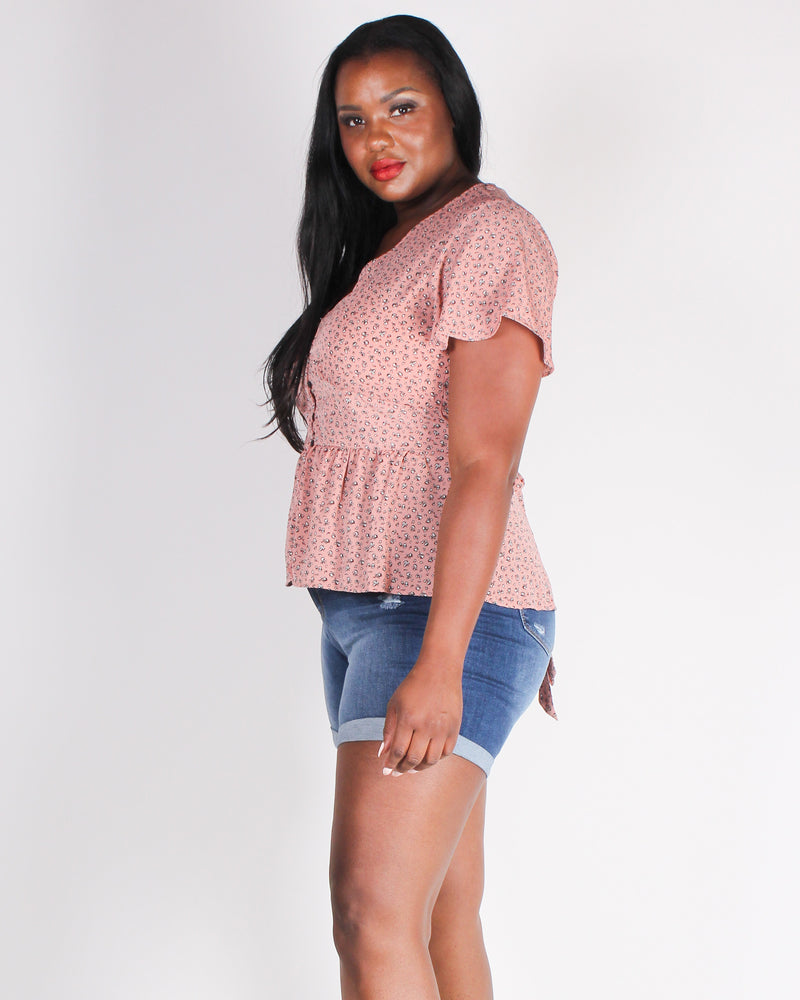 Fashion Q Shop Q Bet on Yourself Boho Plus Blouse (Dusty Rose) T2909X