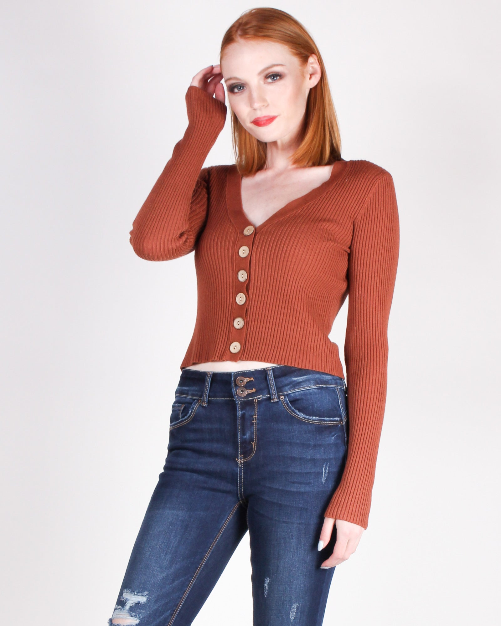 Fashion Q Shop Q Lately, I've Been Feeling So Cool Top (Dark Rust) T3283