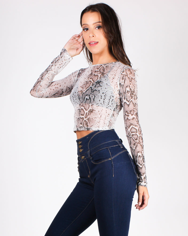 Don't Mesh This Up Snake Print Top