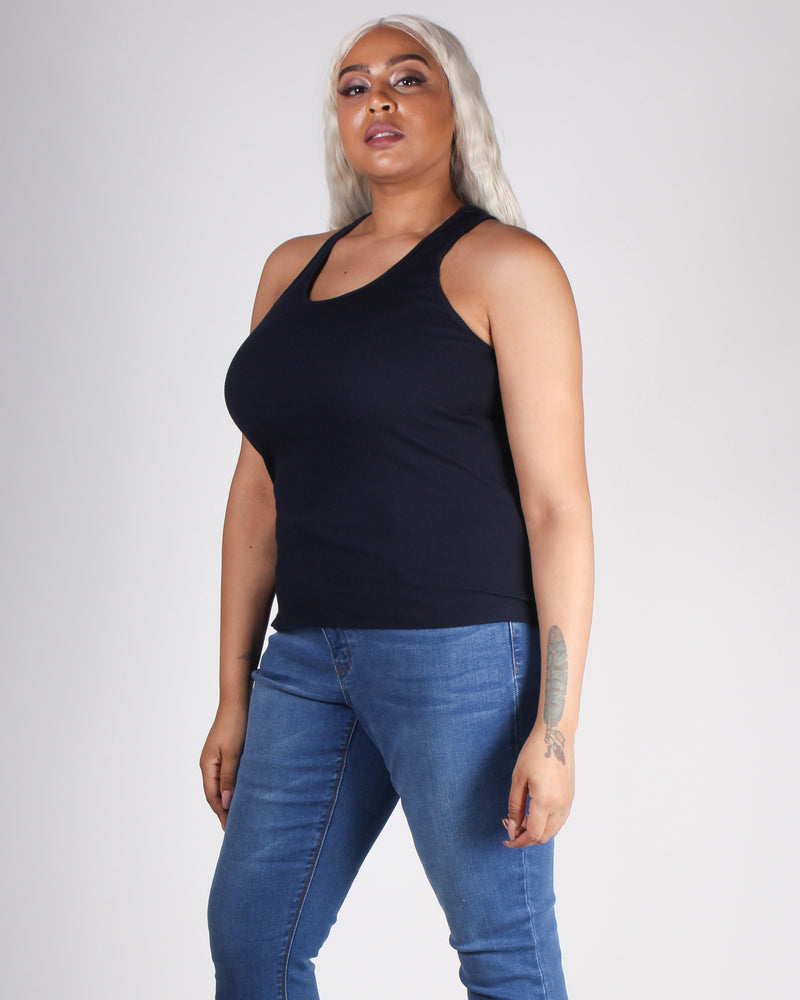 Fashion Q Shop Q Empowered By You Racerback Plus Tank (Navy) T70828