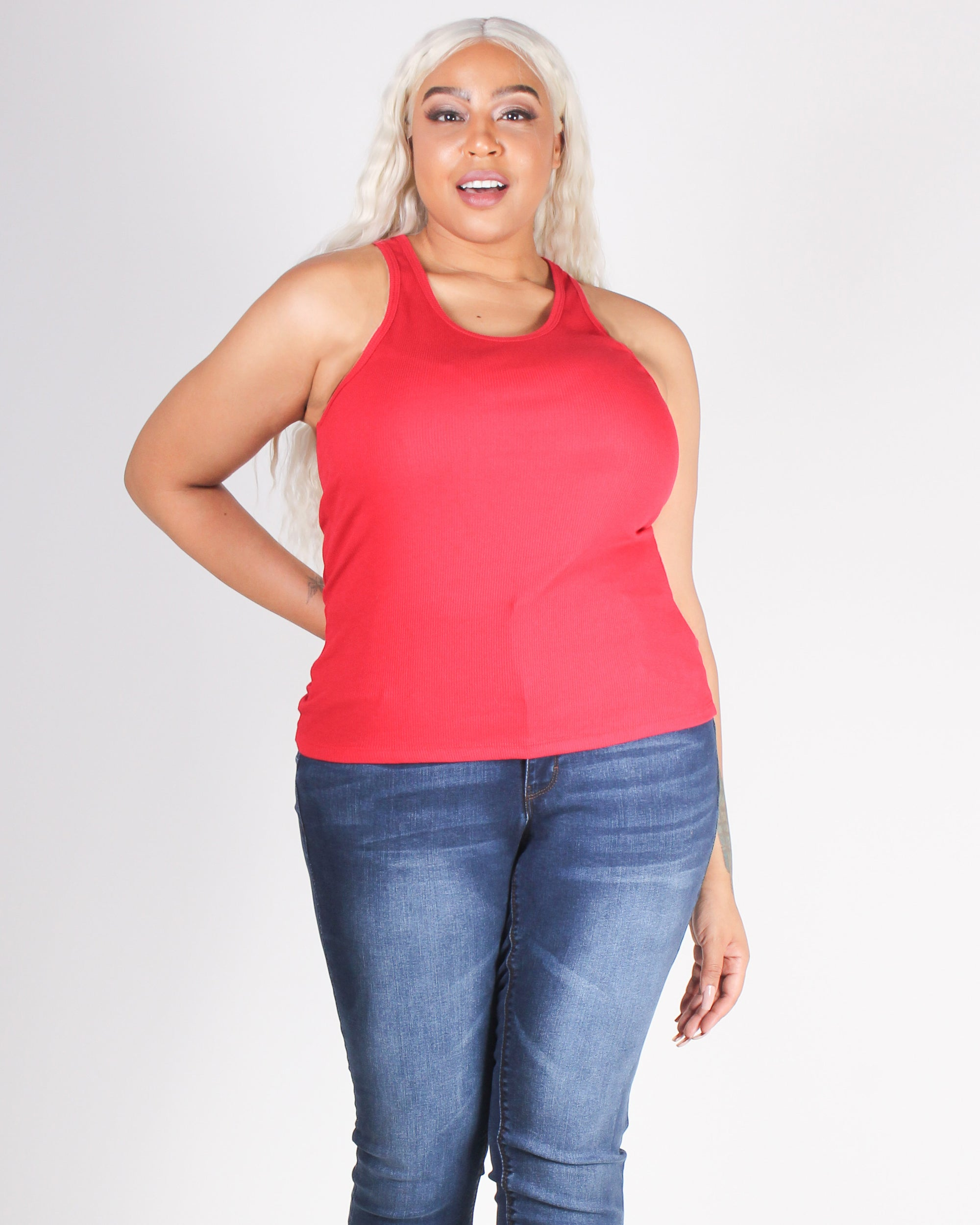 Fashion Q Shop Q Empowered By You Racerback Plus Tank (Red) T70828