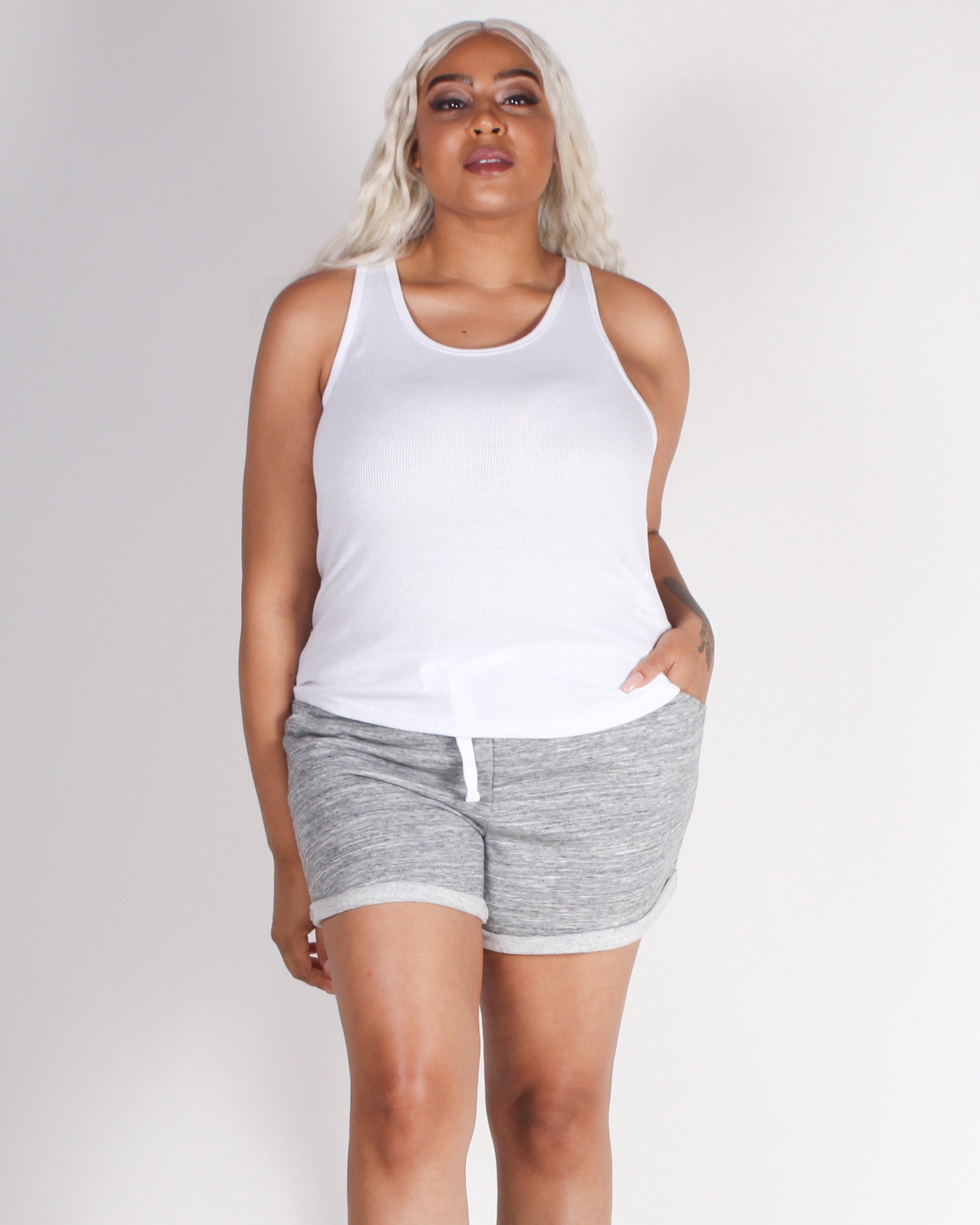 Fashion Q Shop Q Empowered By You Racerback Plus Tank (White) T70828