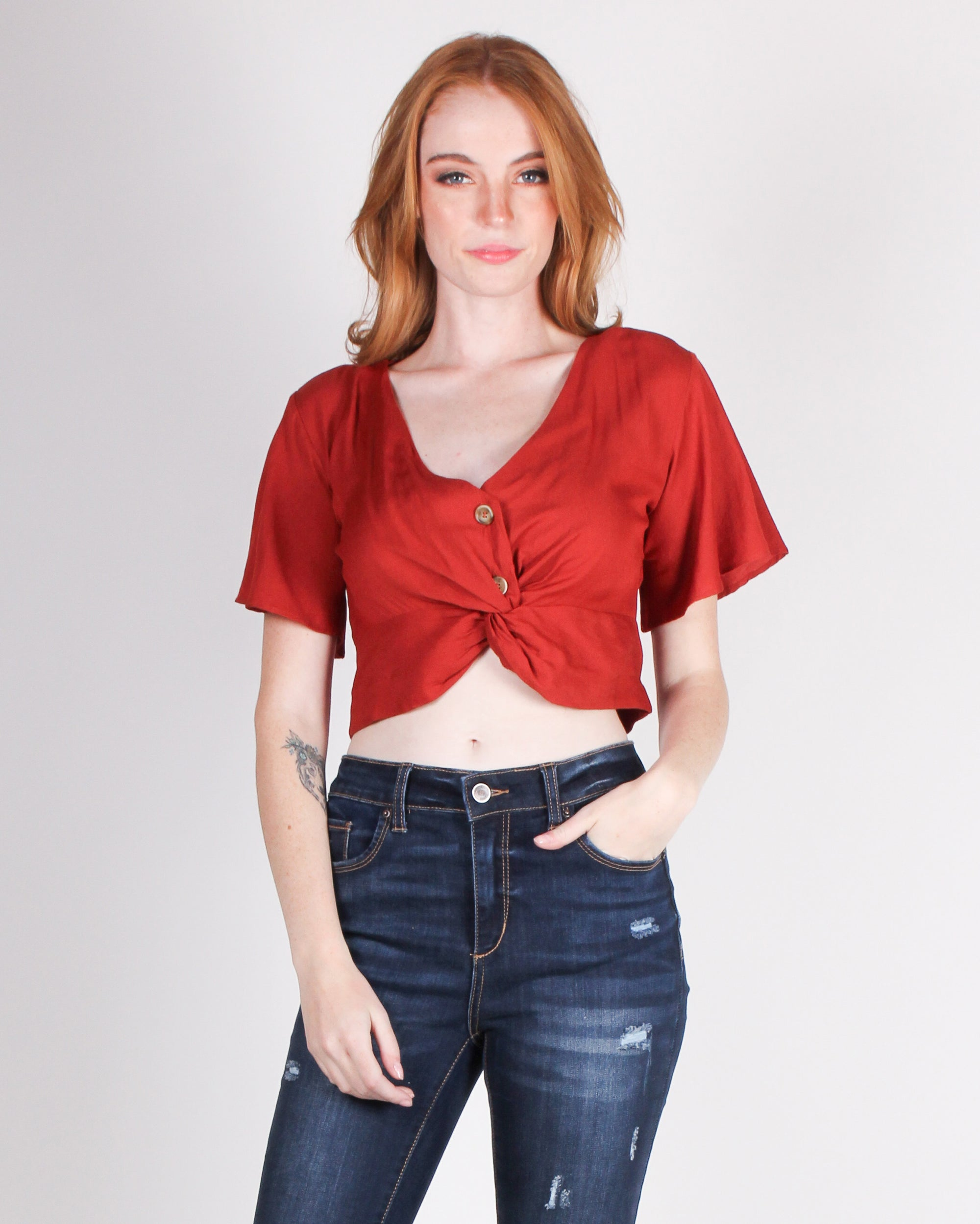 Fashion Q Shop Q Do All Things with Love Flutter Sleeve Crop Top (Cinnamon) TM32642