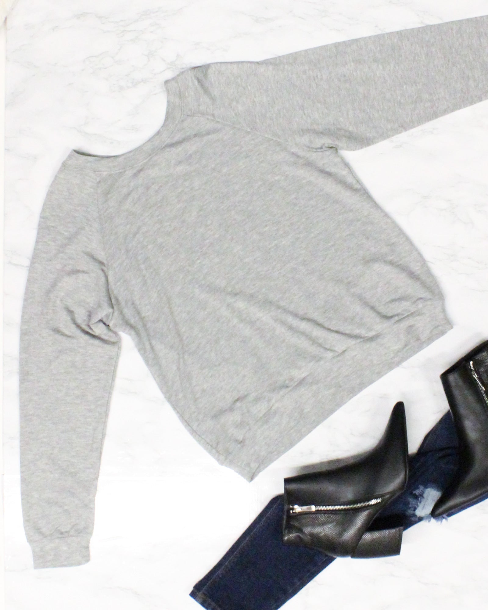 Fashion Q Shop Q We Aim to Please Sweatshirt (Heather Grey) TZ5794