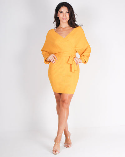Fashion Q Shop Q Awaken Your Fire Bodycon Dress (Mustard) W9025