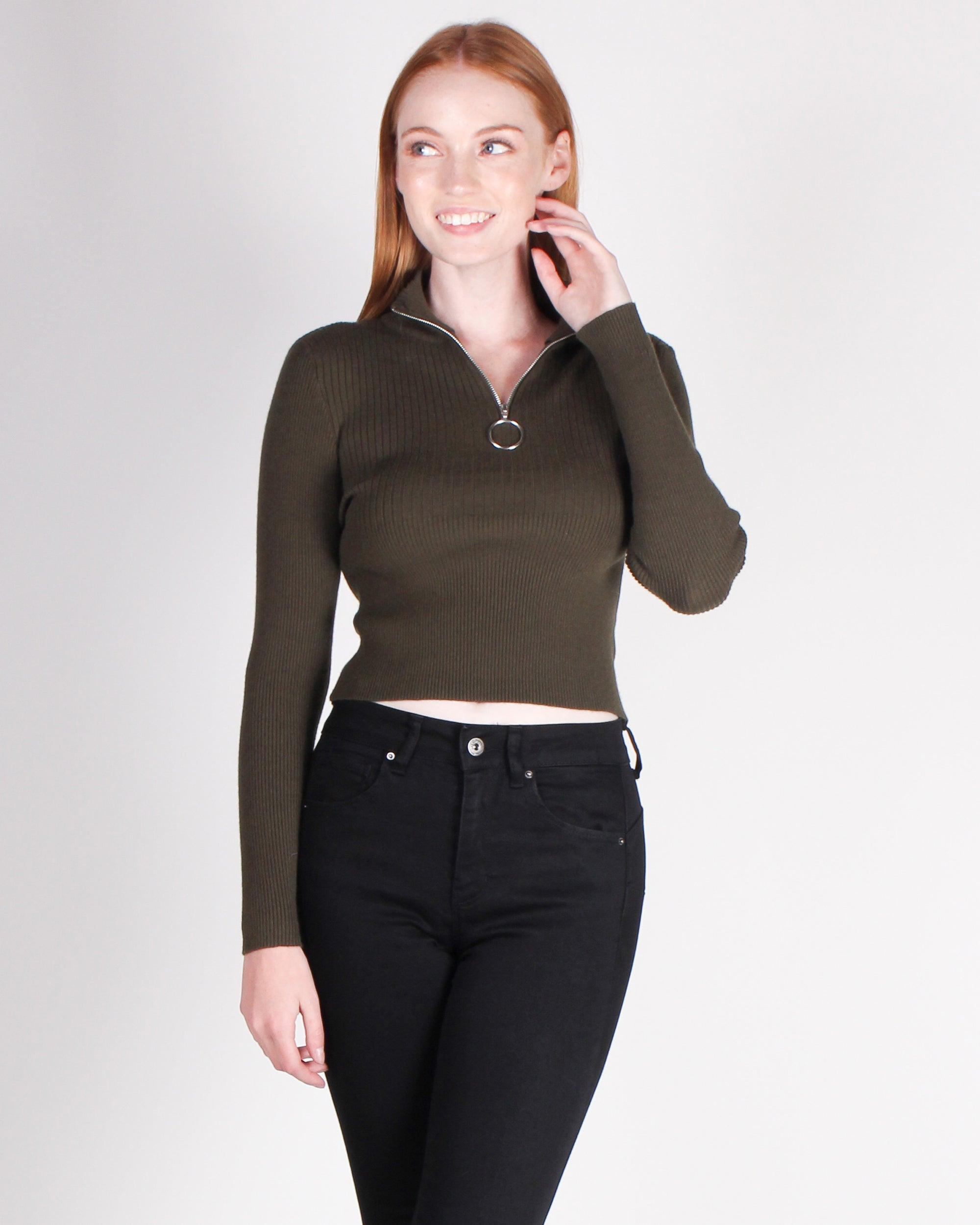 Fashion Q Shop Q I Need You Tonight Long Sleeve Top (Olive) W9061