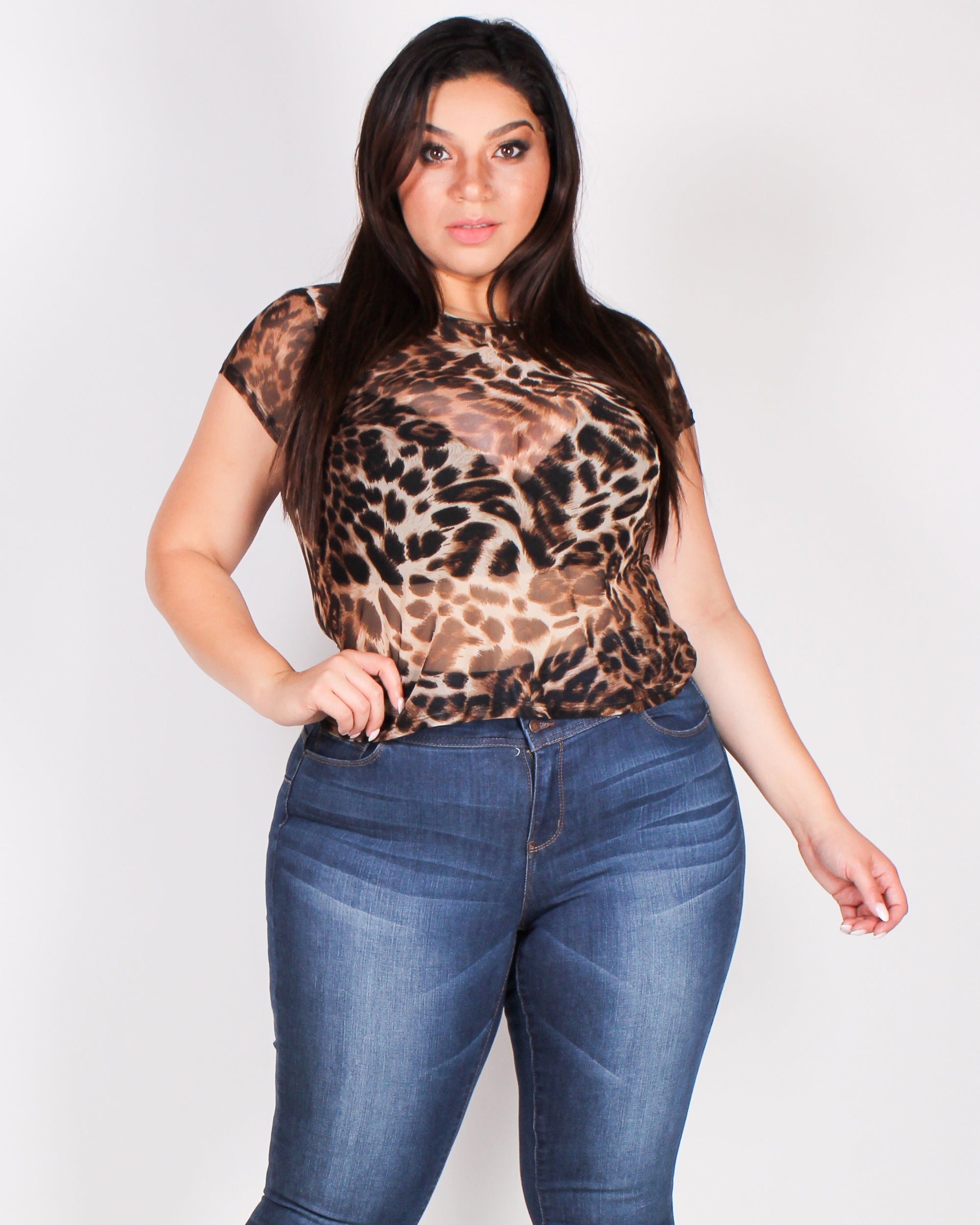 Fashion Q Shop Q Sorry, You Ain't Me Cheetah Plus Top WN5057XD895