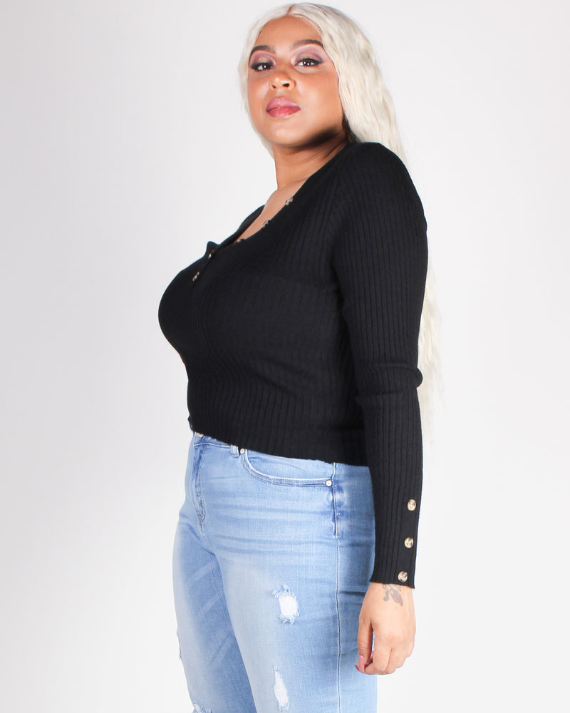 Fashion Q Shop Q Exist on Your Own Terms Plus Long Sleeve Top (Black) WX9041