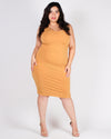 Rise and Shine, Beautiful Plus Bodycon Dress (Mustard)
